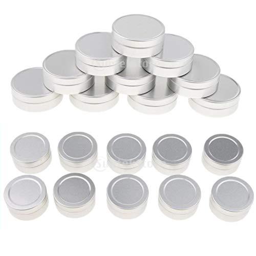 Homyl 20pcs 10ml Pots Vide de Maquillage en Aluminium Bocaux à Visser Couvercles Peuvent Pots Crème Baume à Lèvres Conteneurs