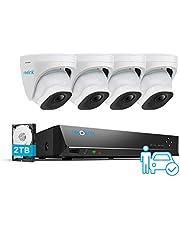 Reolink 4K PoE H.265 CCTV Camera Systeem, 4 stuks 8MP Persoon/Voertuig Opsporing Smart Wired Buiten PoE IP Camera's met 8CH NVR met 2TB HDD voor 24/7 Nightvision Opnamens, Waterproof, RLK8-820D4-A