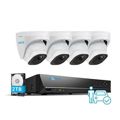 Reolink 4K Poe H.265 CCTV Sistema di Sorveglianza, 4X8MP Rilevamento Intelligente Persone/Veicoli Telecamera Poe, 8CH 2TB HDD NVR, 24/7 Registrazione, Audio, Impermeabile, RLK8-820D4-A