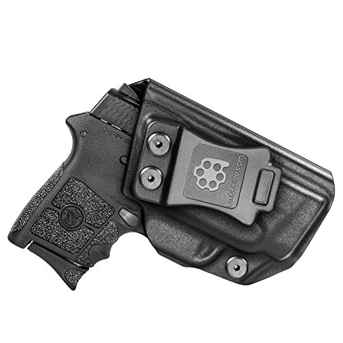 Amberide IWB KYDEX Holster Fit: Smith & Wesson M&P Bodyguard 380 Auto & Integrated Laser | Inside Waistband | Adjustable Cant | US KYDEX Made (Black, Left Hand Draw (IWB))