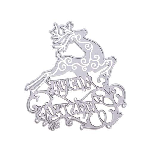 Heallily Fustelle di Natale Buon Natale Alce Taglio di Metallo Fustelle Stampino Modello Stampo goffratura Stencil per Album di Natale Art Craft Decor