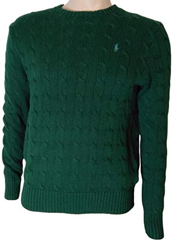 Polo Ralph Lauren Men's Pony Cable Knit Crewneck Sweaters, Green 2018, Large