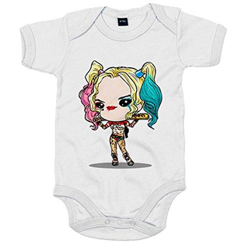 Body bebé Chibi Kawaii Harley Quinn Suicide Squad parodia - Blanco, 6-12 meses