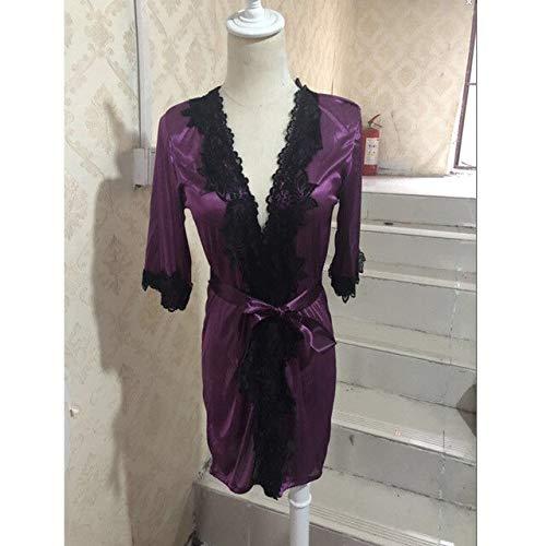 Mode Damen Seidensatin Robe Dessous Nachtwäsche Bademantel Verband Sexy Spitze V-Ausschnitt Mädchen Roben Sommer-Purple-2-L