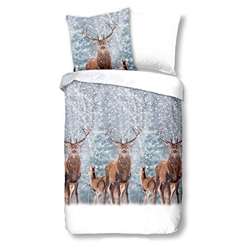 Good Morning! Bettwäsche 6333 Deer Hirsch Schnee Wald Grau, Größe:135 cm x 200 cm