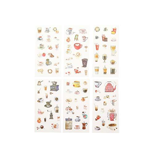 CAOLATOR 6 Blatt Aufkleber Kaffee Sticker Kinder Mädchen Stickers aus Papier für Scrapbooking Stickerbuch Tagebuch Fotoalbum Notizbuch Kalender Dekoration
