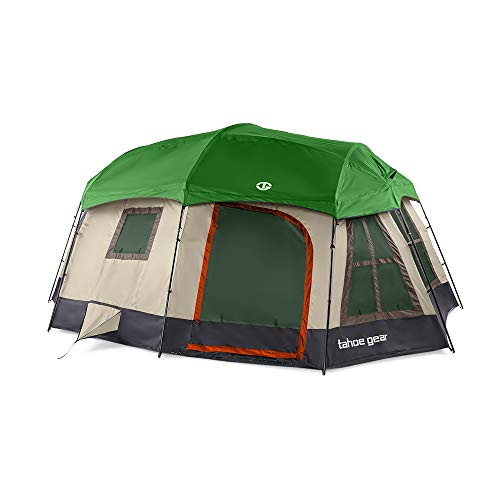 Tahoe Gear Ozark TGT-OZARK-16-D Large 16 Person 3 Season Family Camping Cabin Tent, Brown