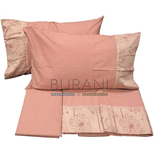Fazzini - Sábana de franela soplada de 1 rosa para cama de matrimonio (sora sábana de 260 x 295 cm + 1 sábana bajera de 180 x 200 x 30 cm + 2 fundas de almohada de 50 x 80 cm)