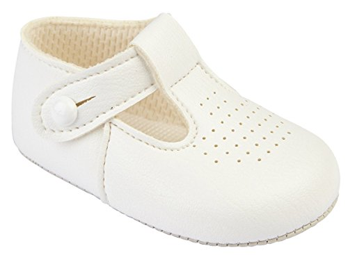 Baypods baby boys traditional T bar pram shoes Early Days 6-12 months WINTER WHITE