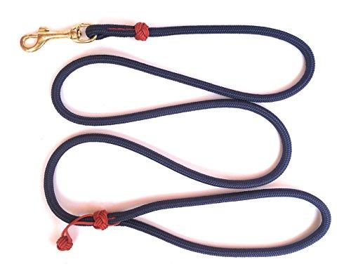 DOGS and MORE - Hochwertige MeRuBu Seil-Leine/Tauleine/Führleine mit Messingkarabiner und Klabautermann in Rot, Grün, Schwarz, Orange, Blau oder Lila (1,5 m lang; 8 mm) (Marineblau)