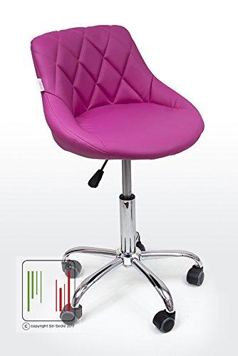 Stil Sedie - Poltrona Sedia Cameretta Girevole Modello GAIA Sedia da ufficio base in metallo cromato con ruote, da scrivania con schienale e regolabile in altezza, colore Fuxia