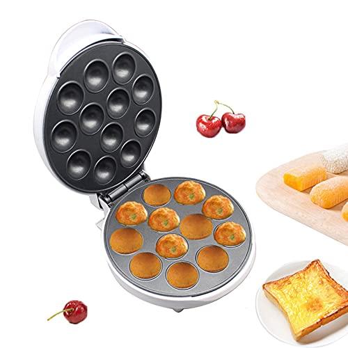 Takoyaki Maker, 12 agujeros pulpo Ball Maker Mini parrilla eléctrica para hornear Pan antiadherente máquina de albóndigas hogar 1000W (blanco)
