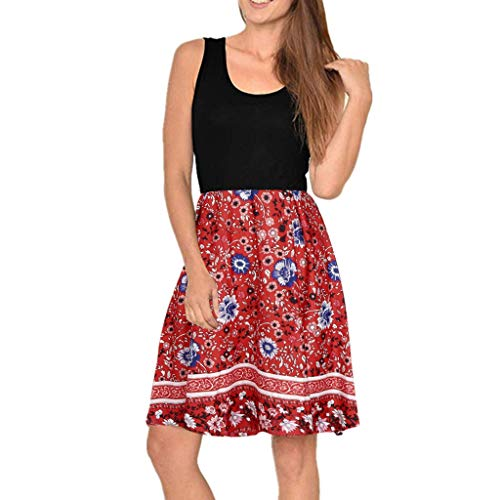 SHINEHUA Kleider Damen Strandkleid Boho Tunika Sommerkleid Blumenkleid Lose T-Shirt Kleid Floral Minikleid Ärmellos Kurz Brautjungfern Kleid Rundhals Trägerkleid Knielang Vintage Partykleid