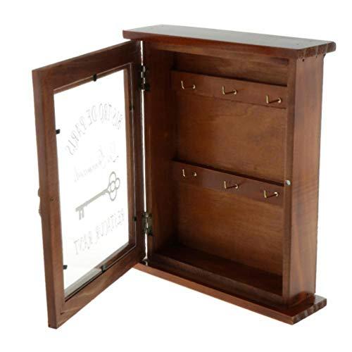 GARNECK Porta llaves de pared de madera organizador de pared para entrada mudroom pasillo puerta oficina llavero decoración marrón