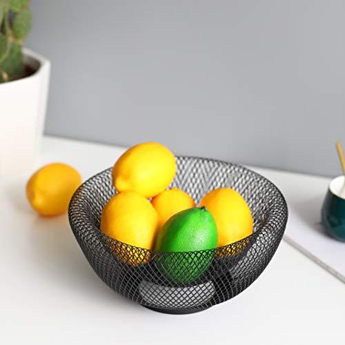 JHY DESIGN Doppelwandiges Netz Metalldraht Obstkorb 24 cm runde Aufbewahrungskörbe für Fruchtsnacks Brot Süßigkeiten Mode Obstschale für Wohnzimmer Küche (rund schwarz)