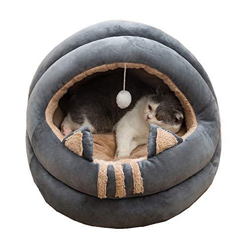 Queta - Cueva para gatos, refugio para mascotas de tamaño mediano, adecuado para gatos, gatitos y cachorros, una cama suave y cómoda, para todas las estaciones, de 40 cm de diámetro