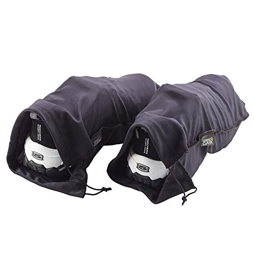 Lewis N. Clark Nylon Drawstring Travel Shoe Bags + Covers for Women & Men, 2 Pair, Charcoal/Black
