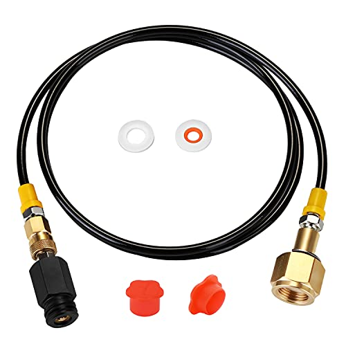 WADEO Soda Stream CO2 Tank Cartridges Hose CGA320 Adapter Soda Maker Direct Connector with 60 inch High Pressure Hose Compatible with SodaStream Soda Stream Make Machine