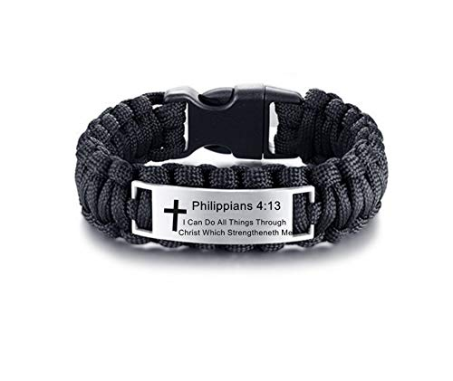 LF Mens Stainless Steel Philippians 4 13 Bible Verse Outdoor Black Rope Paracord Survival Bracelet,Christ Cross Bible Quote Scripture Cuff Bracelets for Adult Hiking Camping Hunting Activities