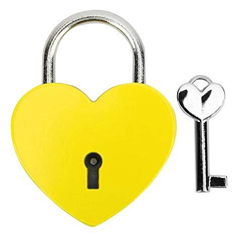 Cerradura de metal en forma de corazón con llave, candado exquisito colorido para caja de joyería para el hogar, caja de almacenamiento, libro diario, 45x59mm(amarillo)