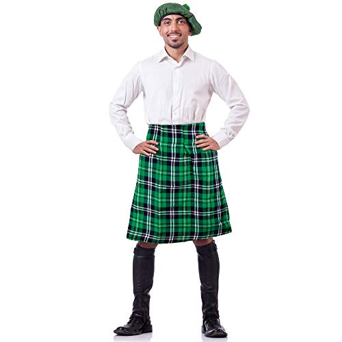 Skeleteen Irish Plaid Green Kilt - Scottish Green Pleated Costume Tartan Skirt Kilts Clothing for Men and Women