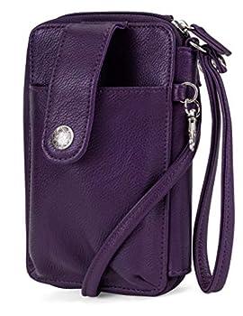 Mundi Jacqui Vegan Leather RFID Womens Crossbody Cell Phone Purse Holder Wallet   Purple