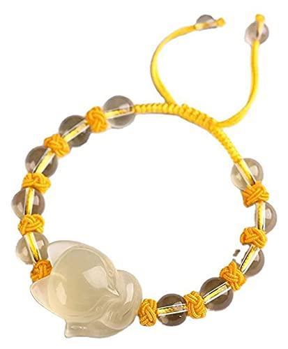 PRTOYO Feng Shui Pulsera Natural Citrine Fox Jewelry Mano Tejido Ajustable Buena Suerte Riqueza Reclutamiento Peach Blossom Regalos para Hombres Mujeres, 10mm (Talla : 12mm)