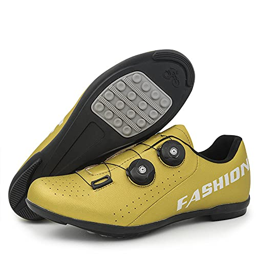 KUXUAN Calzado de Ciclismo para Hombre Compatible con Bicicleta de Montaña de Carretera con SPD/SPD-SL y Tacos de Bloqueo,Hebilla Giratoria Rápida,Blue-4UK=(235mm)=37EU