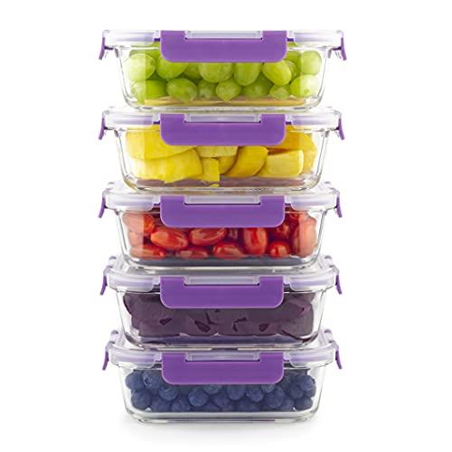 Home Planet Recipientes De Cristal para Alimentos | 860ml X 5 | SIN envases de plástico | Recipientes para Alimentos | Tapers para Comida Hermetico | Recipientes Hermeticos Alimentos