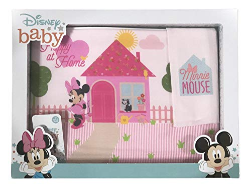 Juego de 3 sábanas con diseño de cochecito de bebé, de Disney, 100% algodón   juego de sábanas para cuna de bebé con funda de almohada   Sábanas para cuna de bebé (Minnie At Home)