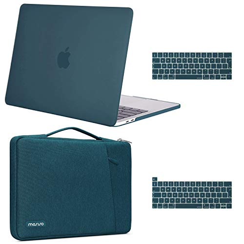 MOSISO Compatible with MacBook Pro 13 inch Case 2016-2020 Release A2338 M1 A2289 A2251 A2159 A1989 A1706 A1708, Plastic Hard Shell Case & 360 Protective Sleeve Bag & Keyboard Cover, Deep Teal