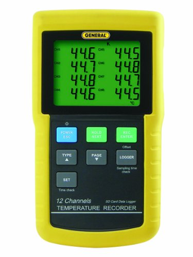 Price comparison product image General Tools DT4208SD Data Logging Digital Thermometer with Excel Format SD Card,  12 Channel