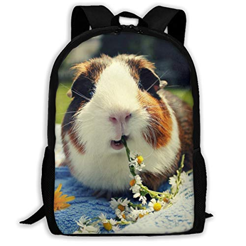 Guinea Pig Eating Daisy Casual School Backpack College Bookbag For Children Adult