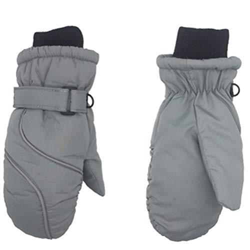 Guantes de esquí para niños, impermeables y resistentes al viento, con cierre de velcro, transpirables, térmicos, cálidos, para niños y niñas de 2 a 8 años, color gris