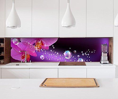 Aufkleber Küchenrückwand Orchidee Blume lila rosa Wasser Folie selbstklebend Dekofolie Fliesen Möbelfolie Spritzschutz 22A840, Höhe x Länge:60cm x 150cm