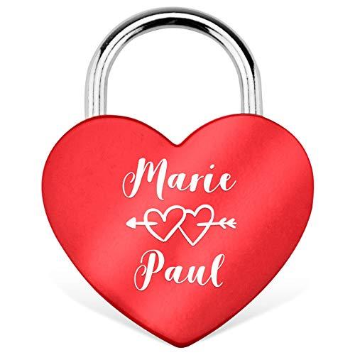 RM-Laser Liebesschloss Herzschloss in Rot mit Gravur und Schlüssel. Jetzt eine Liebes-Botschaft gestalten. Inkl. Kleiner Geschenkbox