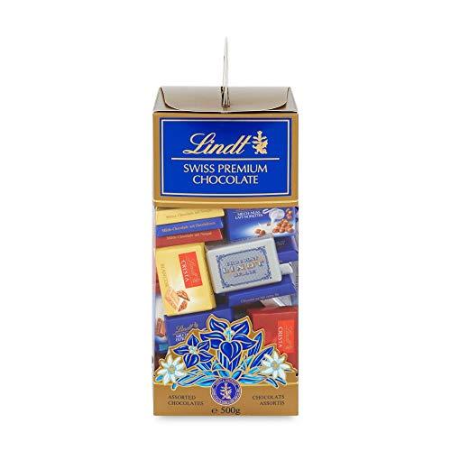 Lindt Swiss Geschenkbox Napolitains, ca. 70 x Mini Schokoladentäfelchen pro Box (1 x 500 g)