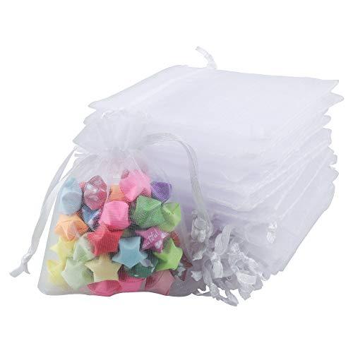 100pcs Bolsas de Organza de Regalo Bolsitas de Organza 7x9cm para Boda Favores, Joyas y Dulces (Blanco)