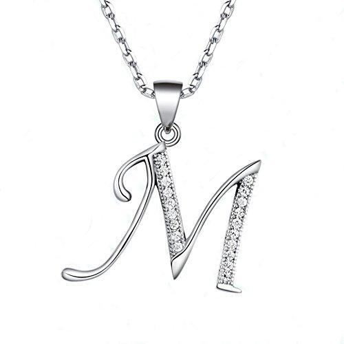Paialco - Collar con colgante con circonia cúbica, plata de ley 925, para mujer, abalorio de letra M