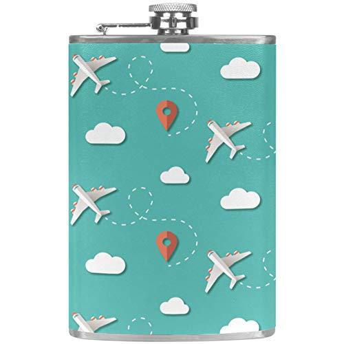 Petaca de cuero con embudo para camping, pesca, barbacoa, fiesta, bar, botella de vino, viajes, aviones, nubes, posición azul