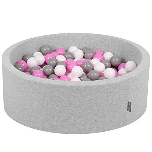KiddyMoon 90X30cm/200 Palline ∅ 7CM Piscina di Palline Colorate per Bambini Tondo Fabbricato in EU, Grigio Ch:Grigio/Bianco/Rosa