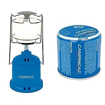 Campingaz - Verre lampe à gaz - Lanterne Camping 206 L - 10-80 Watt & C206 GLS Cartouche de Gaz Perçable, Bleu, 190 g