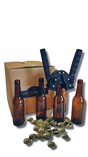 Set 16 Botellas 33 cl y 100 chapas para elaborar Cerveza en casa. Regalo Chapadora Doble Palanca