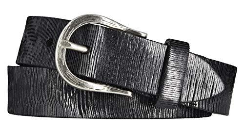 Vanzetti Damen Leder Gürtel Vollrindleder Metallicfinish Damengürtel schwarz 30 mm Ledergürtel (95 cm)