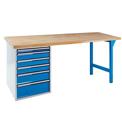 ADB Werkbank Werktisch Tisch Arbeitstisch mit Schublade und Fuß 150 oder 200 cm, Tischlänge:150 cm