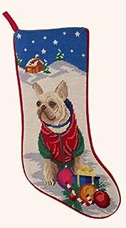 Tan French Bulldog Dog Needlepoint Christmas Stocking