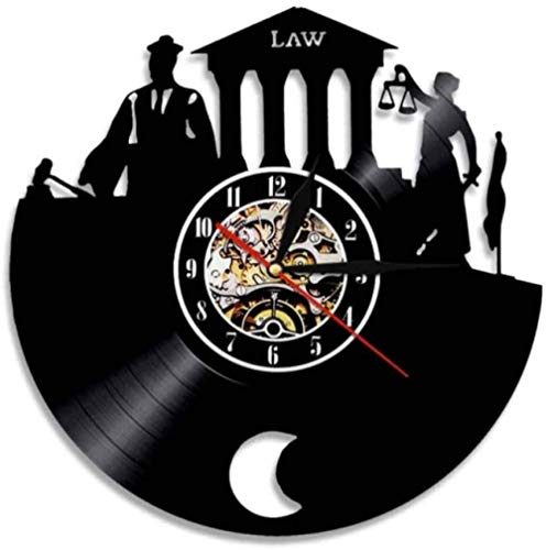 XYLLYT Abogado Verdad Arte de la Pared Oficina del Abogado Juez Corte Decoración Reloj de Pared Escala de Justicia Legal Reloj de Pared de Vinilo