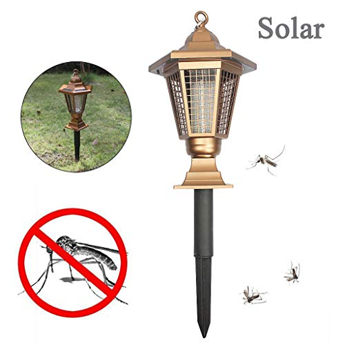 UNBER Solar Mosquito Zapper Outdoor Bug Killer Backyard Insect Killing Lamp Hanging or Stake in Ground Garden Patio Lawn Camping Cordless Solar Powered Pest Control Light Best Stinger Mosquitoes