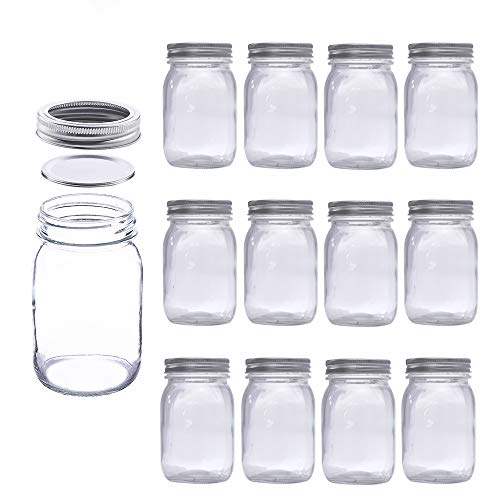 MEETOZ Mason Jars 17 oz With Regular Lids and Bands, Ideal for Jam,Dishwasher Safe Mason Jar for Fermenting, Kombucha, Kefir, Storing and Canning Uses, Clear- Set of 12 (Type B)