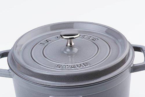 staub ストウブ 「 ピコ ココット ラウンド グレー 22cm 」 両手 鋳物 ホーロー 鍋 IH対応 【日本正規販売品】 La Cocotte Round 40509-307